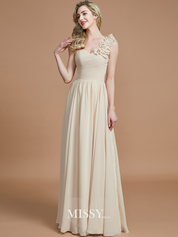 A-Linie/Princess-Linie One-Shoulder-Träger Bodenlang Chiffon Brautjungfer Kleider