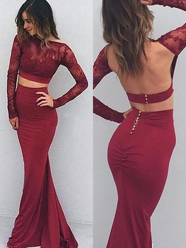 Trumpet/Mermaid Bateau Spandex Long Sleeves Floor-Length Dresses