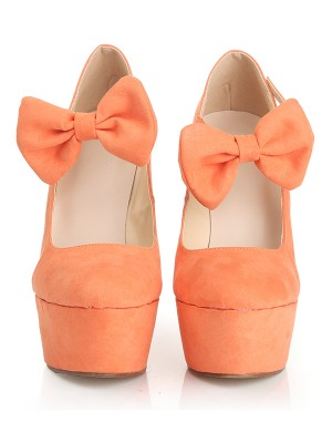 Damen Closed Toe Wildleder Keilabsatz Plattform mit Bowknot Wedges Schuhe