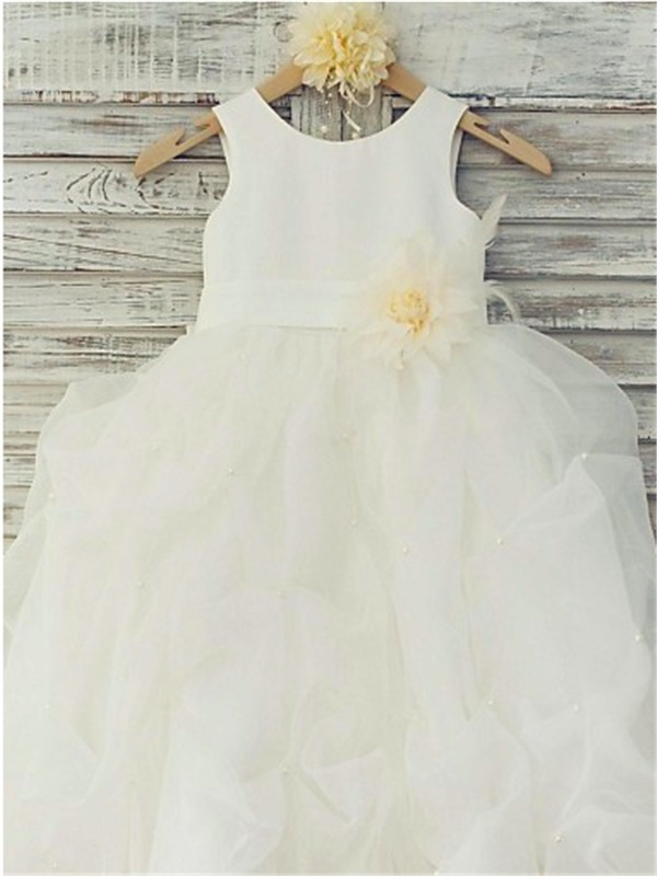 Ball Gown Sleeveless Scoop Hand-made Flower Floor-Length Organza Flower Girl Dresses