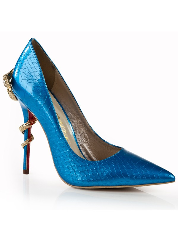 Damen Pfennigabsatz Royal Blue Closed Toe Mit Strass Stöckelschuhe