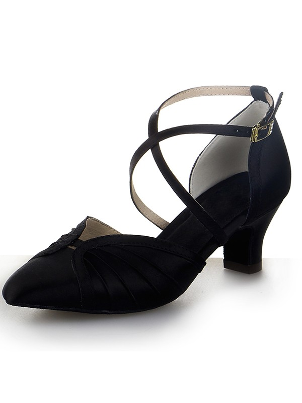 Damen Closed Toe Satin Chunky Heel Buckle Tanzschuhe